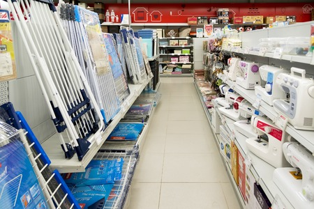 acquirer: Moscow, Russia - February 02. 2016.Interior of  Eldorado is large chain stores selling electronics and household appliances