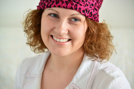 predictor: Portrait of a woman with a scarf on her head like a gypsy Stock Photo