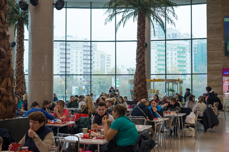 center court: Moscow, Russia - October 25, 2015. Food Court in the shopping center at Zelenograd Iridium