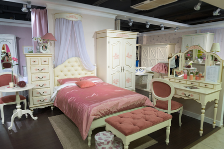 specialty: Khimki, Russia - February 13. 2016. Childrens furniture in Grand Furniture shopping, a largest specialty shop. Editorial