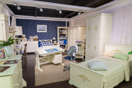 bedstead: Khimki, Russia - February 13. 2016. Childrens furniture in Grand Furniture shopping, a largest specialty shop. Editorial