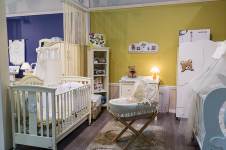 largest: Khimki, Russia - February 13. 2016. Childrens furniture in Grand Furniture shopping, a largest specialty shop. Editorial