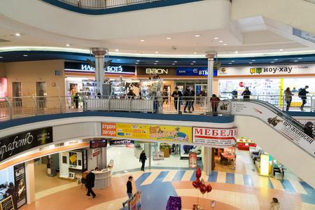 liga: Khimki, Russia - February 13. 2016. The interior of the shopping center Liga Editorial
