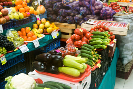 agrarian: Fruits and vegetables on the counter agrarian market Stock Photo