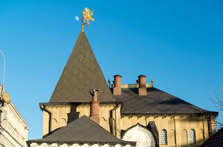chambers: Moscow, roof of Romanov Chambers in Varvarka street, Russia. Sight Stock Photo