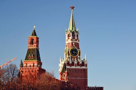 spasskaya: Spasskaya and Nabatnaya tower of a Moscow Kremlin, Russia Stock Photo