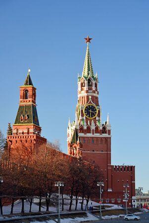 spasskaya: Spasskaya and Nabatnaya tower of a Moscow Kremlin, Russia Stock Photo