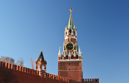 Spasskaya tower of a Moscow Kremlin, Russia Stock Photo