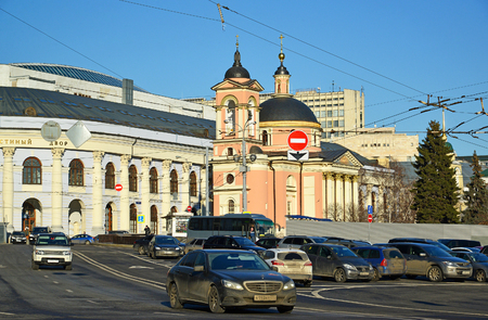 martyr: Moscow, Russia - February 18.2016. View Gostiny Dvor and the Temple of the Great Martyr Varvara on Vasilyevsky Spusk Editorial