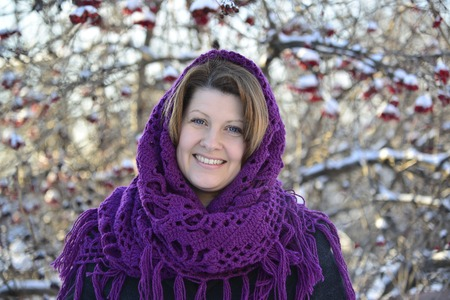 The Russian woman in shawl on her head