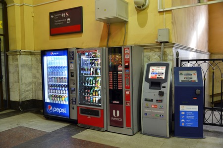 machines: Moscow, Russia -February 18.2016. A Vending machines for drinks, coffee and payment terminals at the Kazansky station Editorial