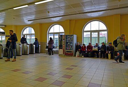 tourniquet: Tver, Russia - February 27. 2016. Railway station Tverskaya in October RZD