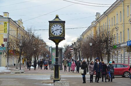 watch city: Tver, Russia - February 27. 2016. Watch with Opening date of the city foundation 1135 on a Trekhsvyatskaya pedestrianized  street