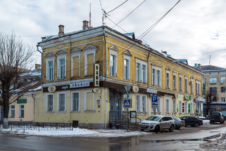 the 19th century: Tver, Russia - February 27. 2016.  Cafe Manilov on  a Sovetskaya street, 19th century