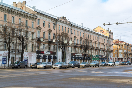 absolute: Tver, Russia - February 27. 2016.  Trendy Absolute quarter on  the Tverskoy Prospekt Editorial