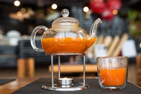 tea candle: Sea Buckthorn tea candle basking in a Japanese restaurant