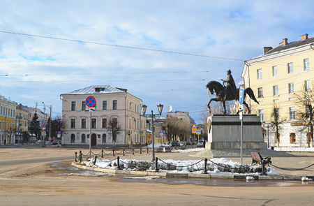 mikhail: Tver, Russia - February 27. 2016. A monument to the founder of the city of Prince Mikhail Yaroslavich Tverskoy