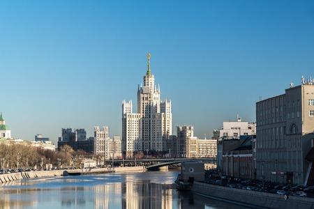 stalin empire style: Moscow, Russia - February 18.2015.  Stalin-era building on  a telnicheskaya Embankment
