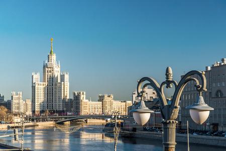 kotelnicheskaya embankment: Stalin-era building on a Kotelnicheskaya Embankment, Moscow, Russia