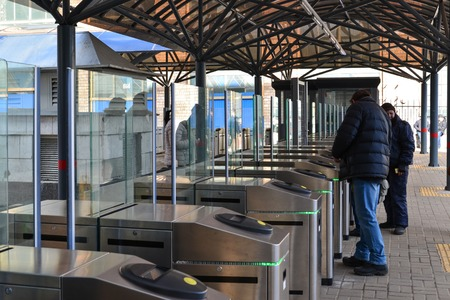 portage: Moscow, Russia - March 14. 2016. Turnstiles at the entrance to the commuter train at Leningradsky railway station Editorial