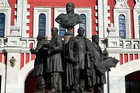 founders: Moscow, Russia - March 14, 2016. Monument to a founders of Russian railroad on background of Kazansky station