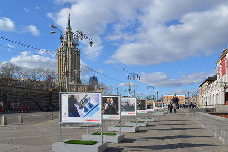 leningradskaya: Moscow, Russia - March 14, 2016. advertising the Moscow Easter Festival RZD on the square in front of Kazansky station Editorial
