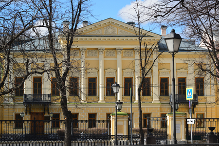 pushkin: library name of  poet Pushkin, former estate Mamontov in Moscow, Russia