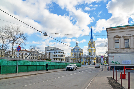 the ascension: Moscow, Russia - March 14, 2016. Church of the Ascension in the field pea