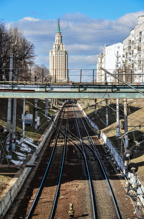 leningradskaya: Moscow, Russia - March 14, 2016. View on railway tracks, Starobasmanny overpass and a hotel Leningradskaya Editorial