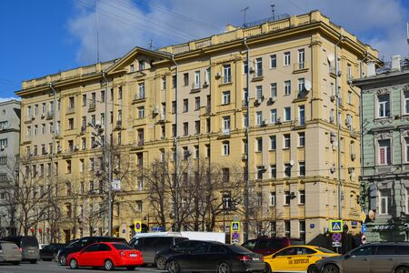 housing lot: Moscow, Russia - March 14, 2016. Houses of Stalinist architecture on the Garden Ring