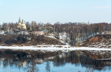 thawed: View of the left bank of the Volga River in the city of Tutaev, Russia Stock Photo