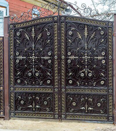 metal gate: Modern metal gate near the apartment house
