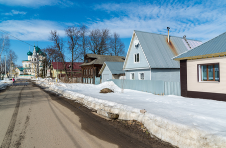 mud snow: Tutaev, Russia - March 28, 2016. Architecture and general view of the town Editorial