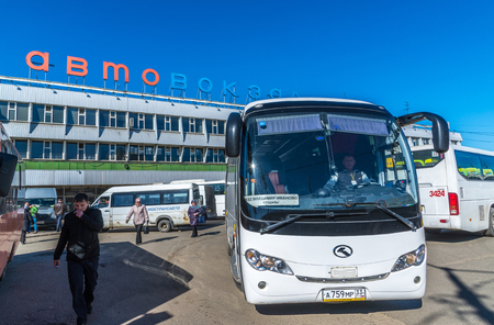 bus station: Moscow, Russia - April 04.2016. Shchelkovo bus station and the bus on the squarebuilding Editorial