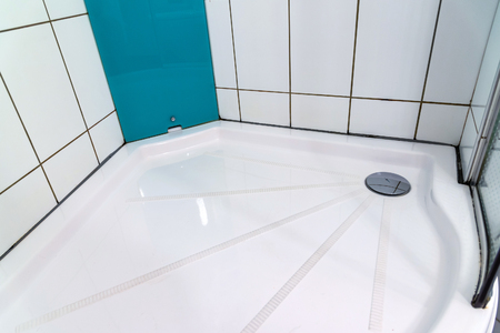 sump: Shower cabin in the bathroom close up shoot