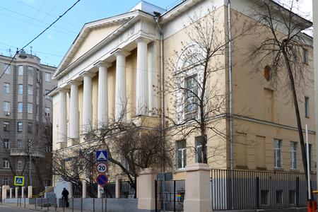 elizabethan: Moscow, Russia - March 14, 2016. Elizabethan former womens gymnasium, now Pokrovskaya School 2095 in Big Kozenyi alley Editorial