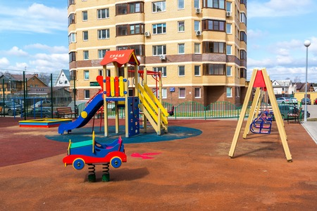 residential: Andreevka, Russia - April 11.2016. playground in the residential complex Uyutniy