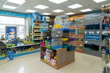 Moscow, Russia - April 16.2016. Interior of Four paws pet store 報道画像