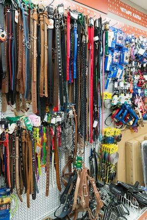 leashes: Moscow, Russia - April 16.2016. Leashes and collars in a Four paws pet store