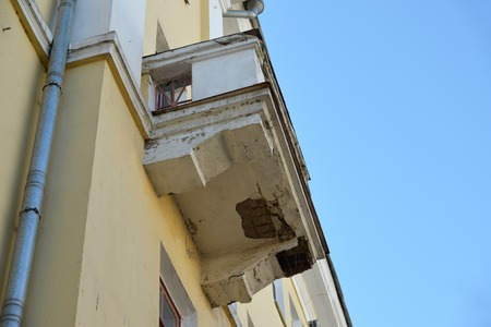 block of flats: emergency balcony on the facade of block flats