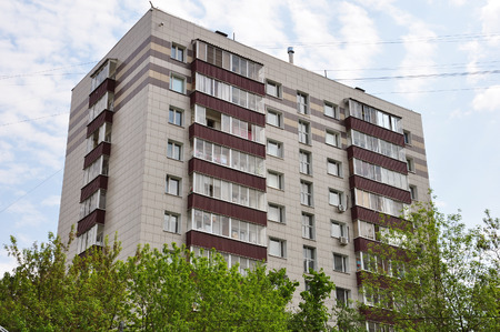 typical house completely is renovated facade in Moscow, Russia