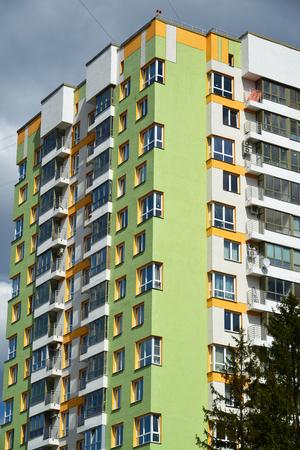 #56219859   A Facade Of A Modern Apartment Building