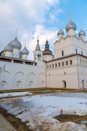 veliky: Rostov Veliky, Russia-March 30.2016.  Temples of the Rostov Kremlin, Golden Ring tourist