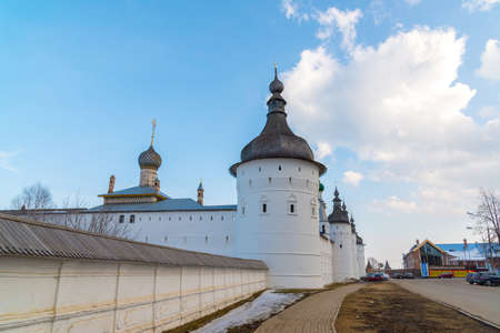 veliky: Rostov Veliky, Russia-March 30.2016.  Guard Towers of the Kremlin Editorial