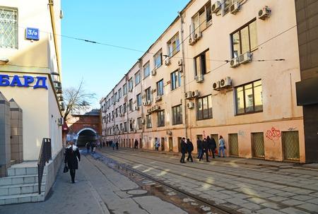 plexus: MOSCOW, RUSSIA - March 10. 2016. Syromyatnicheskaya tram plexus under the railway viaduct