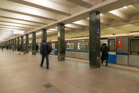 MOSCOW, RUSSIA -27.04.2015. subway stations Shchelkovskaya. Moscow Metro carries over 7 million passengers per a day Editorial