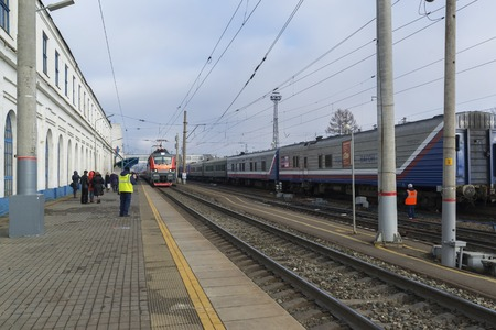 arrives: Vladimir, Russia - November 11.2016. The train arrives at the station