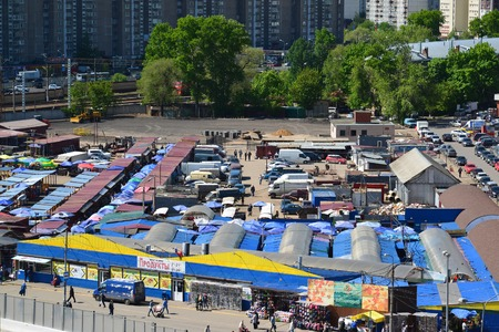 emporium: Moscow, Russia - May 13.2016. Top view of the city market in Zelenograd