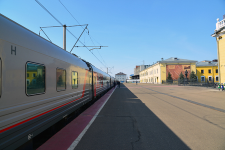 treno espresso: Russia, Yaroslavl-March 30.2016.  An express train standing at the station