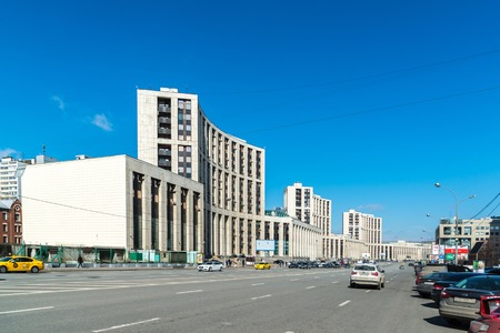 foreign trade: Moscow, Russia - April 04, 2016. The Vnesheconombank on Academician Sakharov Prospect